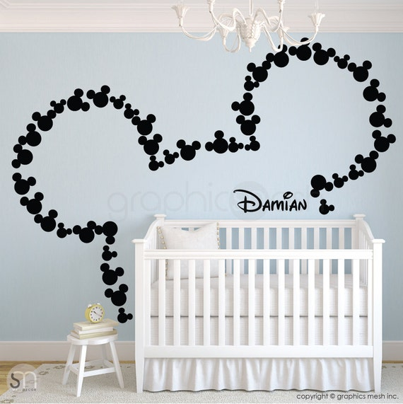 Wall decals MICKEY MOUSE inspired ears & Personalized Baby