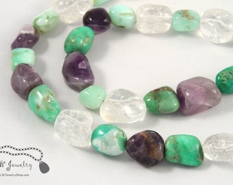 Purple Amethyst Aqua Chrysoprase, Clear Quartz, Beaded, Gemstone Necklace, simple necklace, gift for her, handmade necklace, gift