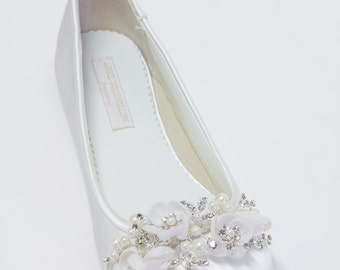 Wedding Flats Shoes - Ballet Flats - Choose From Over 200 Colors - Sparkling Crystals - Parisxox By Arbie Goodfellow - Wedding Shoes - Flats
