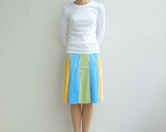 Pastel Colors T-Shirt Skirt Womens Tee Skirt Cotton Skirt Fashion Knee Length Drawstring Handmade Aqua Yellow Green Summer Spring ohzie