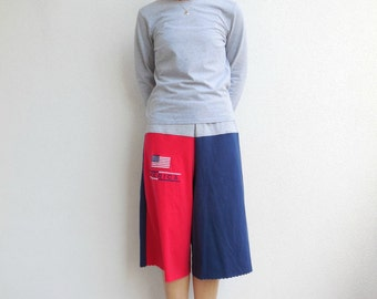 Womens Culotte Pants Womens T-Shirt Pants Upcycled Tee Capris Recycled M Navy Blue Red Gray Drawstring Cotton Soft Beach Summer ohzie