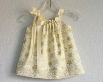 New! Baby Girls Gold Holiday Dress with Bloomers - Metallic Gold Stars on Ivory - Infant Christmas Dress - Size NB, 3m, 6m, 9m, or 12m