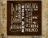 NEW YORK City Art, Graphic New York Poster, Subway Sign, NYC Neighborhoods Typography Poster on Canvas. 24 x 24 or 34 x 34