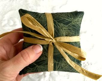 Balsam Sachet with Organic Balsam Fir - Pine Bough Fabric - sold individually - Eco friendly- Aromatherapy - Spa Bathroom
