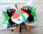 Sushi Themed Boutique Style Hair Bow Green Black White Orange