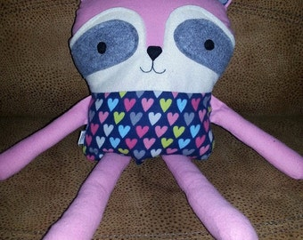 Pink with Hearts cozy raccoon
