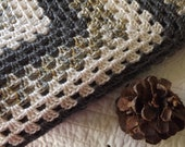 Large Crocheted Classic Style Granny Square Blanket Throw Cream Grey and Tan