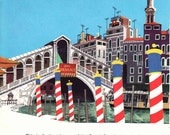 Rialto Bridge over Canal in Venice Italy, 1960s vintage mid century illustration
