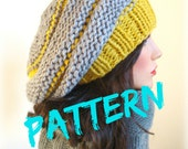 Knitting Pattern - Instant Download - Rustic Knitted Beret - French Slouchy Beehive Hat - Winter Accessories - Winter Womens Hat
