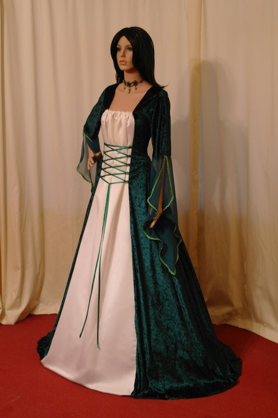 celtic dress, medieval gown,  handfasting dress, renaissance, plus size dress, wedding custom made