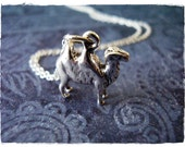 Silver Camel Necklace - Sterling Silver Camel Charm on a Delicate 18 Inch Sterling Silver Cable Chain