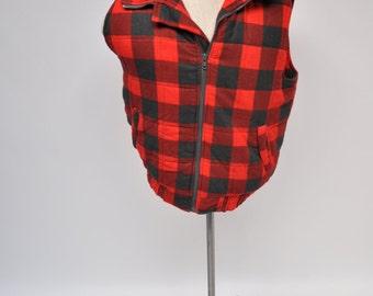 vintage plaid vest winter outdoor wear medium