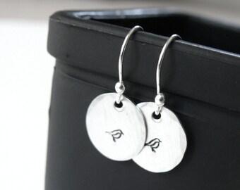 Sterling Silver Bird Earrings - Bird Earrings - Stamped Bird Earrings - Bird Dangle Earrings