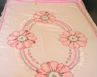 Vintage Handmade Petticoat Shabby N Chic Pink Floral Embroidery Lace Ribbons Twin Bedspread - Free USA Shipping