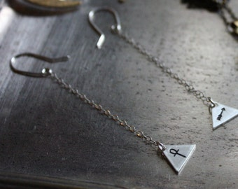 Pyramid dangle earrings. Bespoke, custom (sterling silver, your choice of stamp - ankh, moon, arrow)