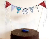 Cake bunting vintage race car theme personalized with age boys birthday cake topper and photo prop