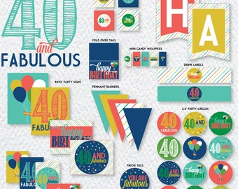 40th Birthday Party PRINTABLES (INSTANT DOWNLOAD) by Love The Day