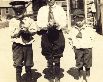 Boys in SALVATION ARMY UNIFORM Holding Baby Birds Photo Circa 1930s