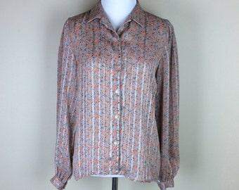 Vintage Floral Blouse / 70s Orange Flower Shirt / 80s Sheer Button Up Hunt Valley S M