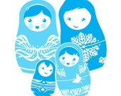 Family Portrait in Russian Nesting Doll Style with Your Choice of Color