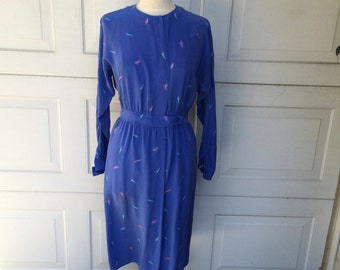 Periwinkle Blue Long Sleeve 80's Vintage Patterned Silk Dress by Maggy London | Medium Women