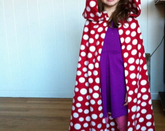 Kids Fleece Blanket Cloak Cape - Red Polka Dot