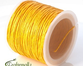 SALE 50% OFF: Yellow waxed cotton cord - 1mm waxed cotton cord - 1 roll (25meters)