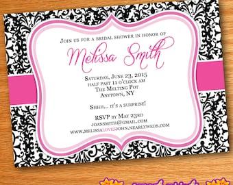 Printed Pink Black & White Damask Bridal Shower Invitation