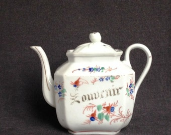 Elegant French Souvenir porcelain teapot