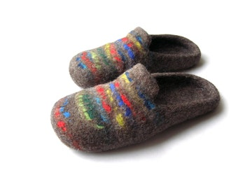 Felted natural wool slippers for men, women/ felted shoes, Felted slippers Color /blue/ red/ green