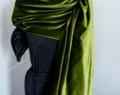 olive velvet shawl scarf