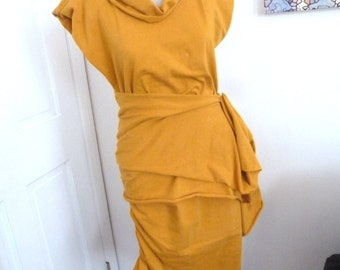 Mustard cotton lycra dress with ruche