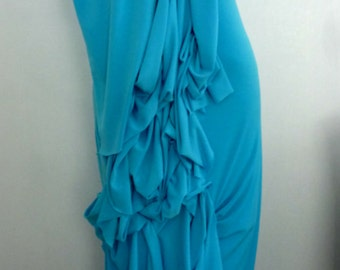 Turquoise ity jersey gown in /beautiful manipulation of fabric/v neck dress by Cheryl Johnston