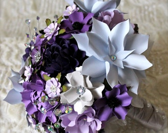 Icy Purple -  Handmade Paper Flower Wedding Bouquet - Customize your Style and Colors - Made To Order