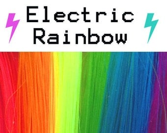 """14"""" or 18"""" Electric Rainbow Color Hair Highlight Clip: Shapeshifter Monofiber"""