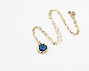 Sapphire Necklace. September Birthstone Necklace. Personalized Women's Jewelry. Bridesmaid Necklace. Delicate Necklace. Initial Necklace Mom