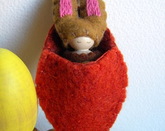 Bunny in Carrot Pouch, Waldorf Peg Doll, Easter Basket Toy, Spring Rabbit, Brown, Chocolate Brown, Pink, Upcycled wool felt, wood, eco toy