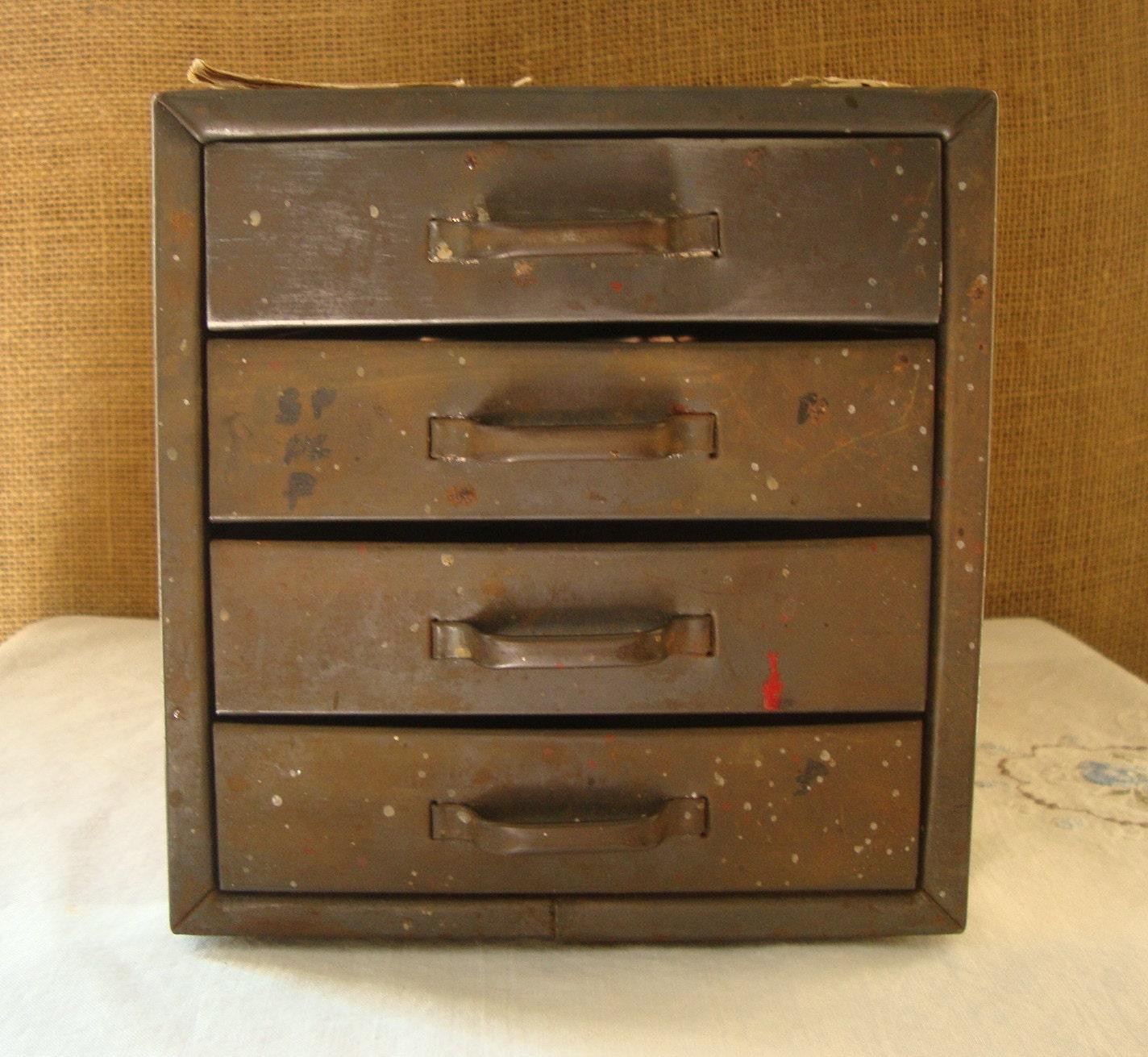 Vintage Metal Storage Small Cabinet Of Drawers 4 Metal Drawers