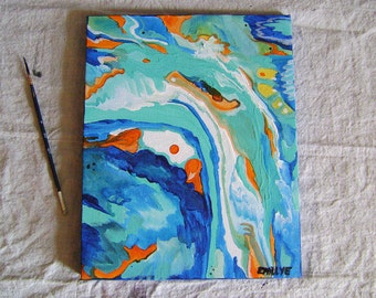 Original abstract painting on canvas, Drift, aqua, turquoise, ocean, sea, navy blue, orange, yellow, abstract, art, Emillye