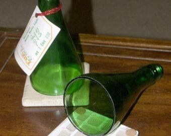 Green Glass Bottle Hurricane Candle Votives