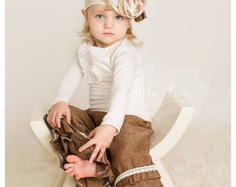 Linen and Lace Double Ruffle Toddler Girl Pants - Brown Linen Pants Lace Accents - Double Ruffle Pants - Lilly Ruffler Pants - Brownie Goose