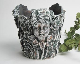 Garden Fairy Flower Pot Garden Decor Hand Painted in Black, White, Dark Green and White