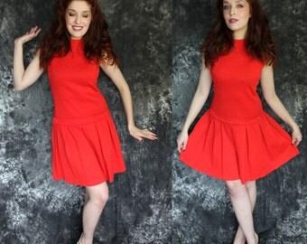 SALE Vintage 1960s Crimson Wool Pleated Drop Waist Dress