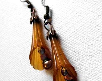 Amber Trumpet Flower Spring Earrings