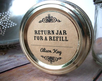Return Jar for a Refill Custom KRAFT paper canning jar labels, personalized round mason jar stickers, fruit and vegetable preservation