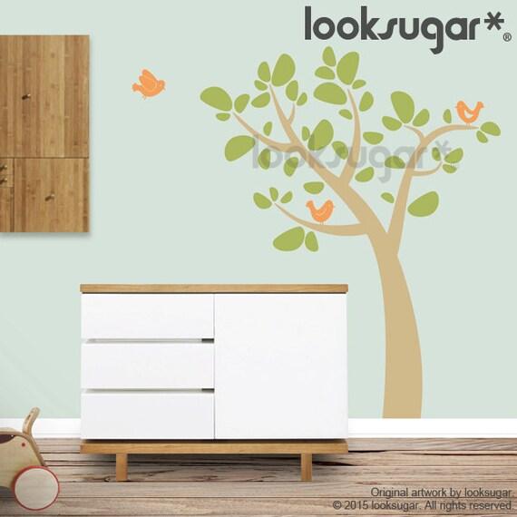 Bird Tree Wall Decal - Baby Nursery Tree Decal - 0061