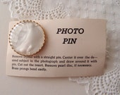 """R E S E R V E D """""""" vintage Photo Pin Blossom brooch with crown prongs... new old stock unused"""