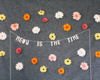 paper party banner, MEOW is THE TIME - handmade, wall hanging, bedroom decor, house decor, interior decor, home decor, word banner, paper