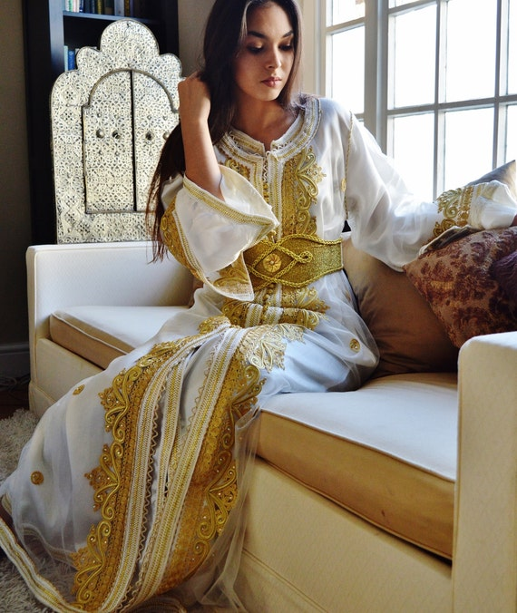 Kaftan Moroccan Modern White Gold Embroidery Caftan Kafan-Millia-moroccan parties, weddings,abbayas, honeymoon, birthday, anniversary gift