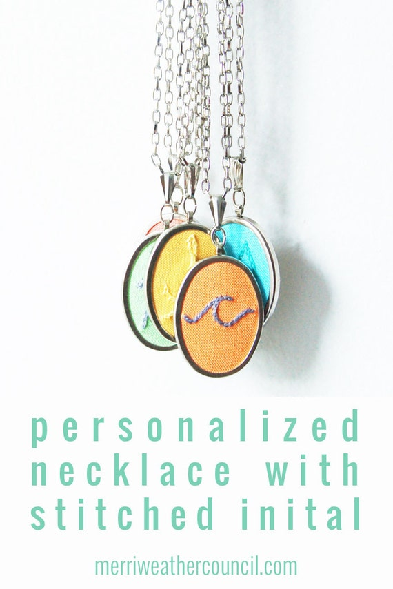 Personalized Bridesmaids Gifts. Initial Necklace. Colorful Hand Embroidery. Initial Pendant. Unique Bridesmaid Gift